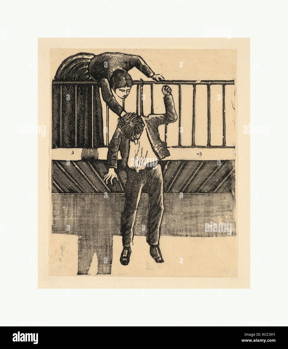 Dibujos y estampas, imprimir una mujer descubriendo un hombre que se ha suicidado colgándose desde un balcón Imagen De Stock