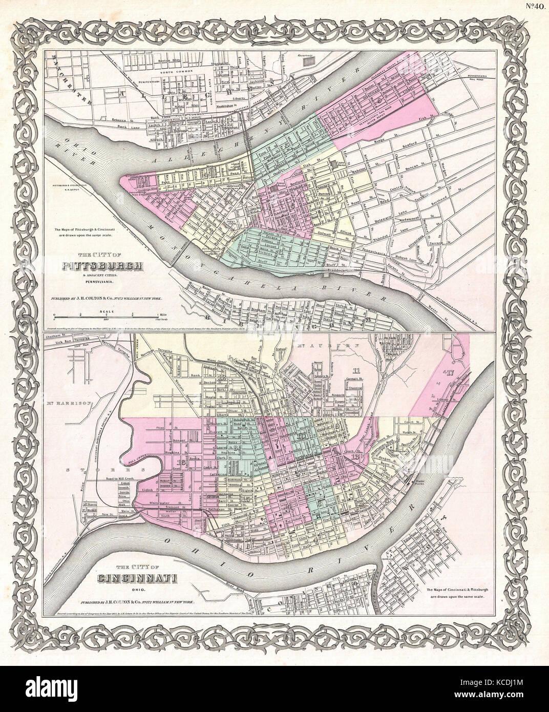 1855 Colton Plan O Mapa De Pittsburgh Pennsylvania Y Cincinnati
