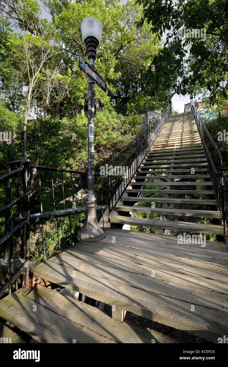 Escaleras de Old Quebec. Canadá Foto de stock