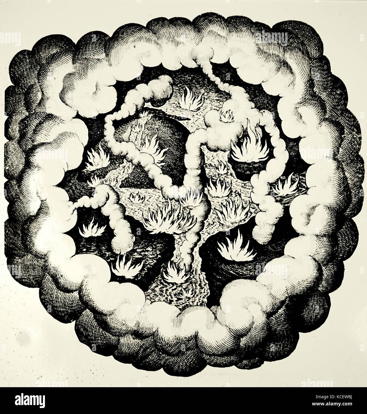 """Elemental caos, mostrando la lucha entre las """"cualidades"""" en caliente y frío, húmedo y seco. Imagen De Stock"""