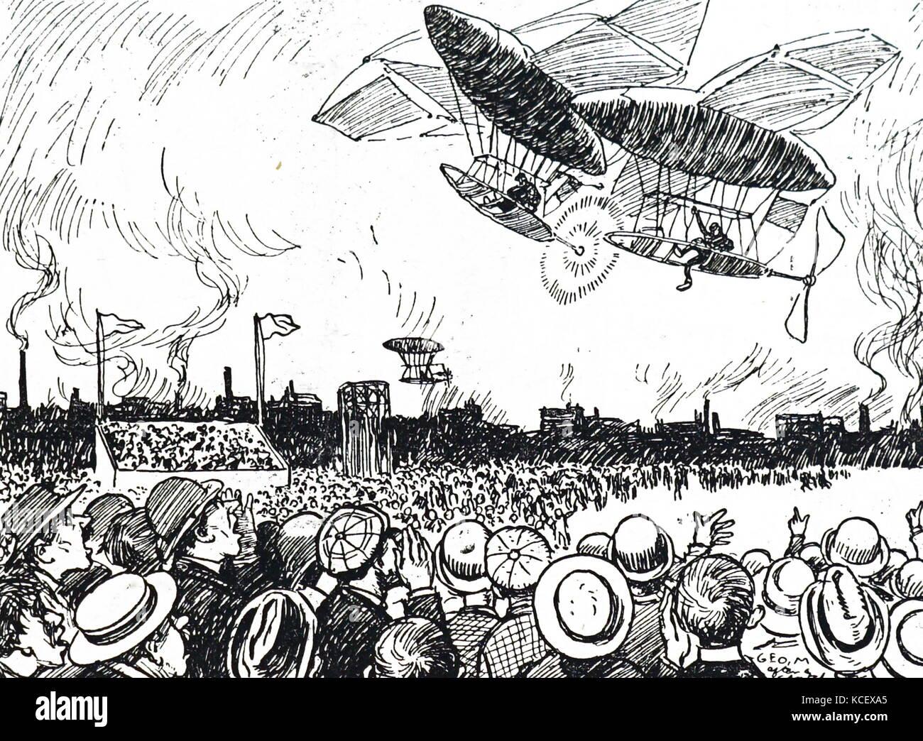 Caricatura horrorizados espectadores viendo colisionan dos aviones durante un aire-show. fechada el siglo xx Foto de stock