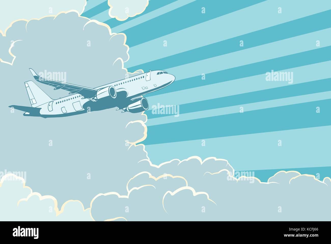 Retro avión volando en las nubes de fondo los viajes aéreos. Imagen De Stock