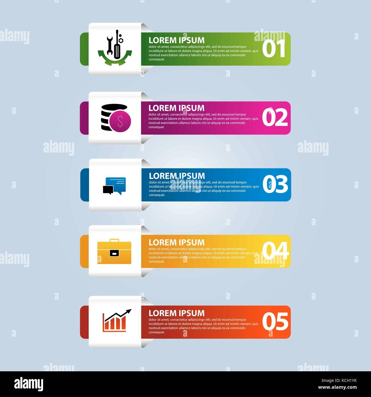 472d5c5c6a24b Una plantilla de infografía con 5 pasos y una imagen de cinco rectángulos.  Se utiliza para presentaciones de negocios