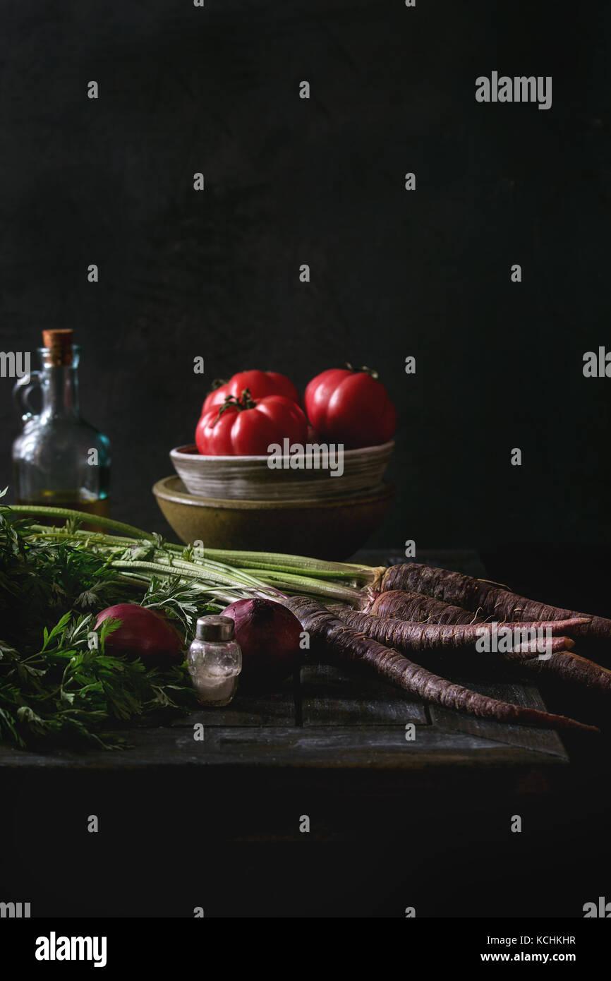 Bodegón con verduras Foto de stock