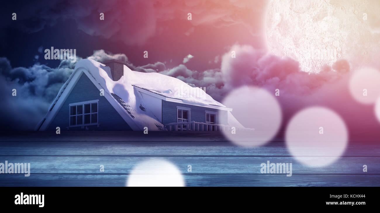 Close-up de capeado paneles de madera contra la Luna casa de iluminación Imagen De Stock