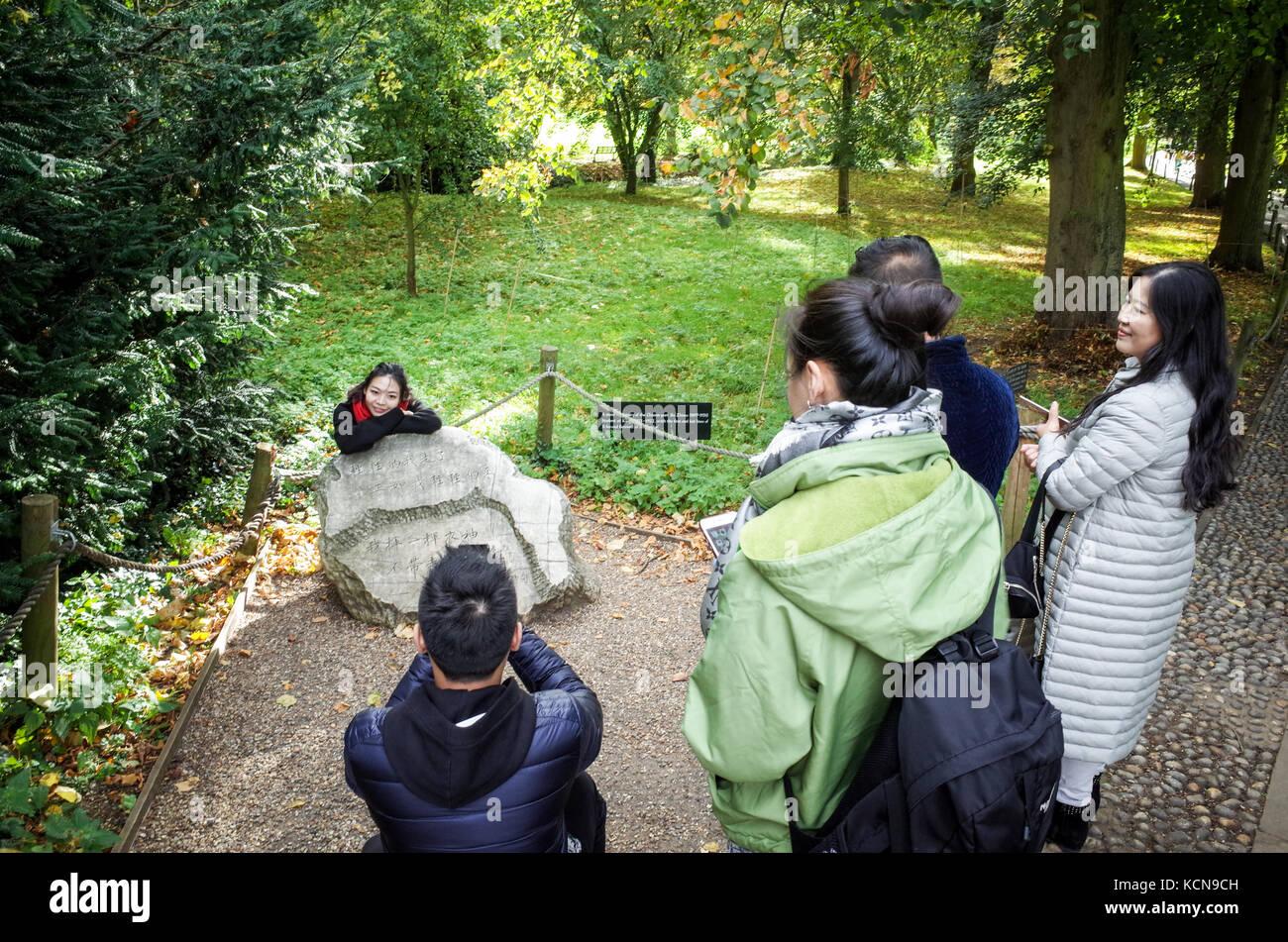 Xu Zhimo poema - Los Turistas ver la primera y la última línea del poema de despedida a Cambridge en el Imagen De Stock