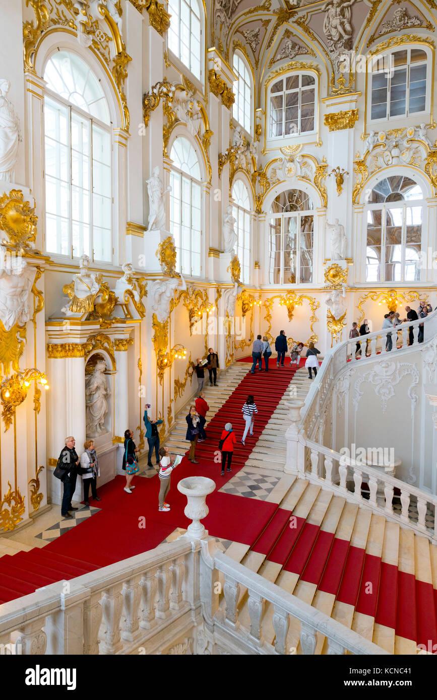 El Jordán, escalera interior del Palacio de Invierno, el Museo Estatal del Hermitage, San Petersburgo, Rusia Foto de stock
