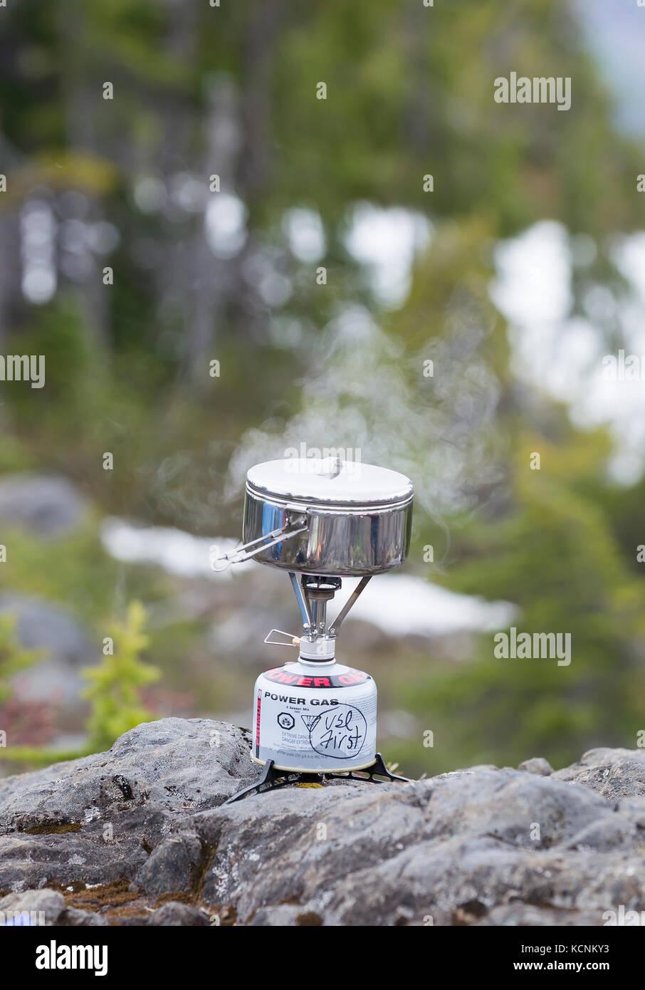 Cena hierve en una pequeña estufa mientras cook camping en la meseta de Lee, la isla de Vancouver, British Imagen De Stock