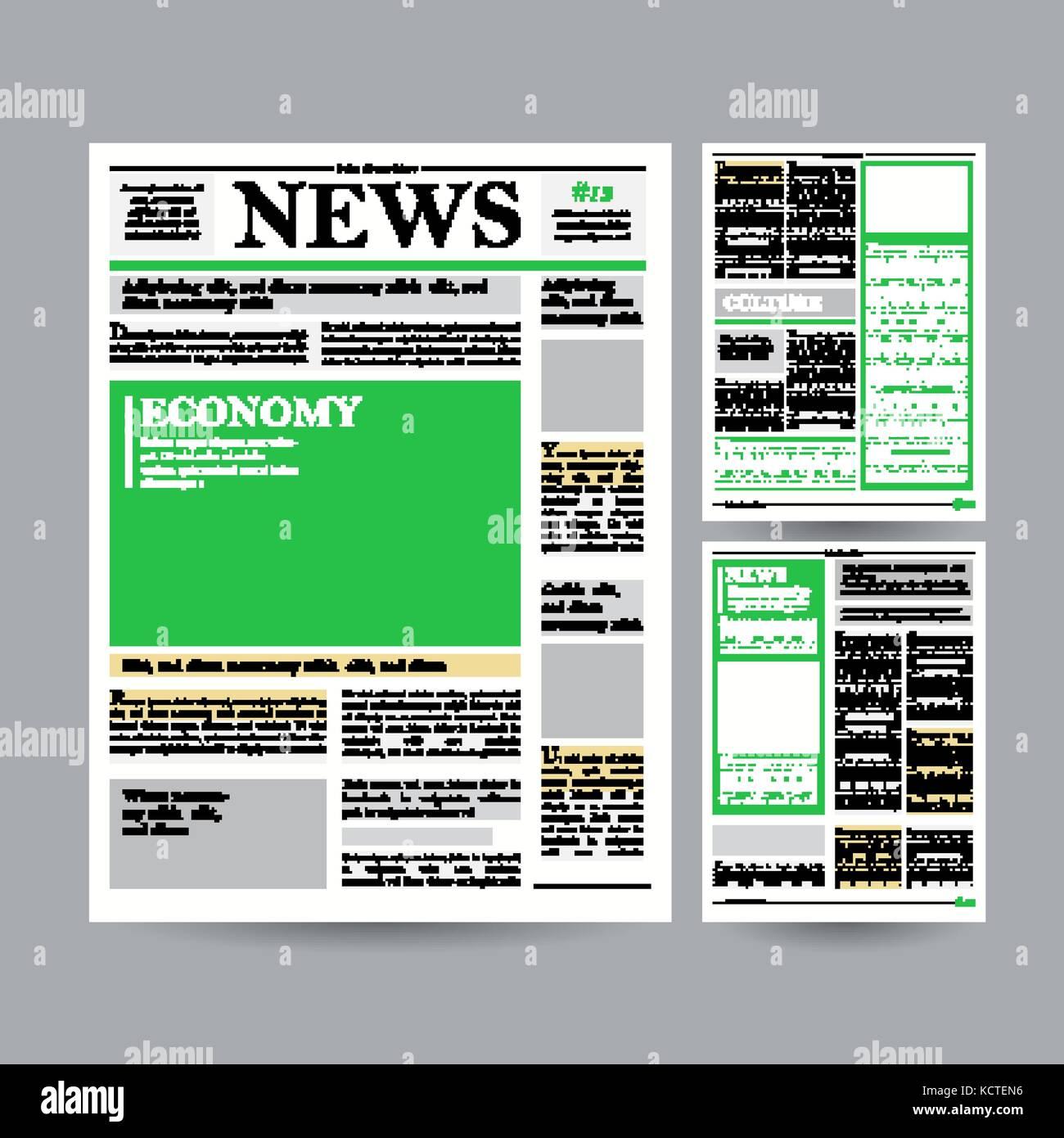 Plantilla de diseño de periódicos vector. financieras artículos ...