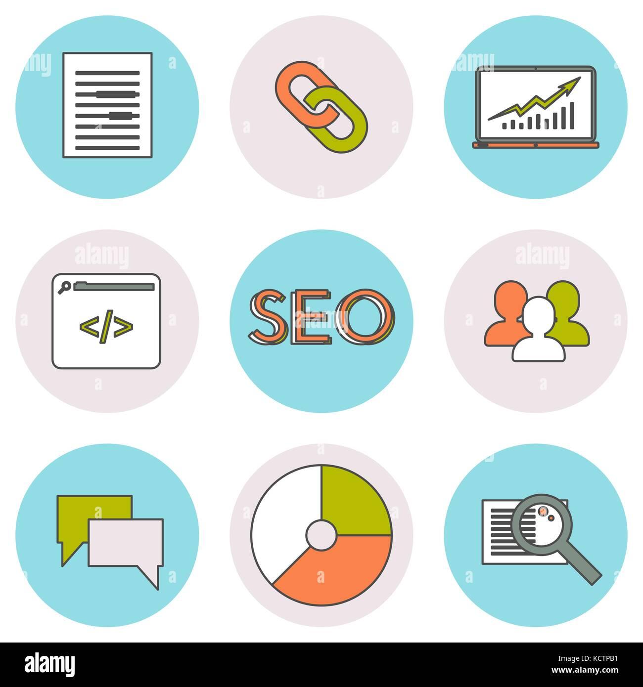 Seo Iconos de línea. Imagen De Stock