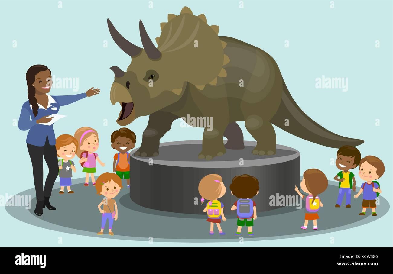 Estudiantes en el museo paleontológico mirando dinosaurio. ilustración vectorial Imagen De Stock