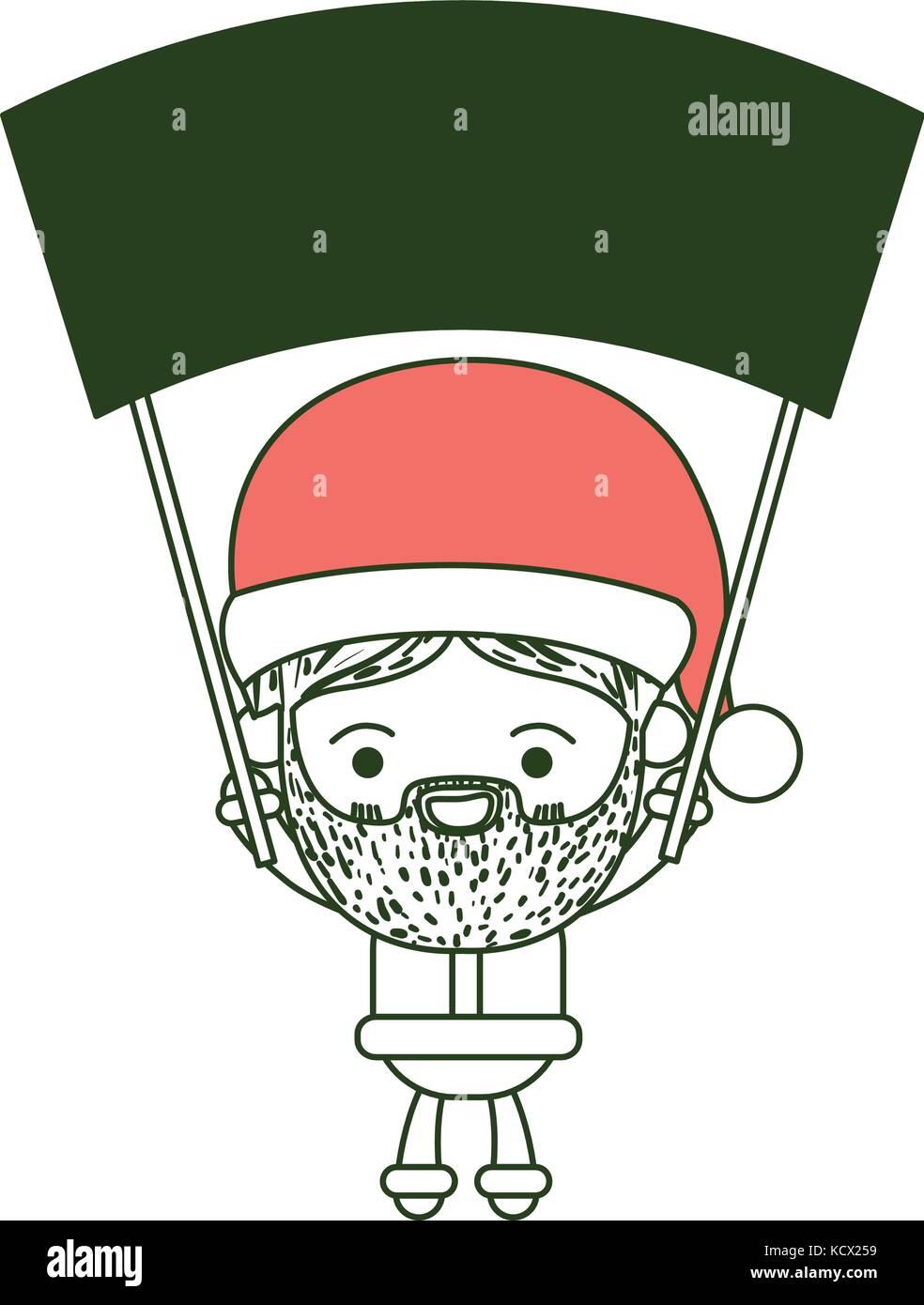 Santa Claus cartoon sosteniendo un cartel de madera con expresión de ...