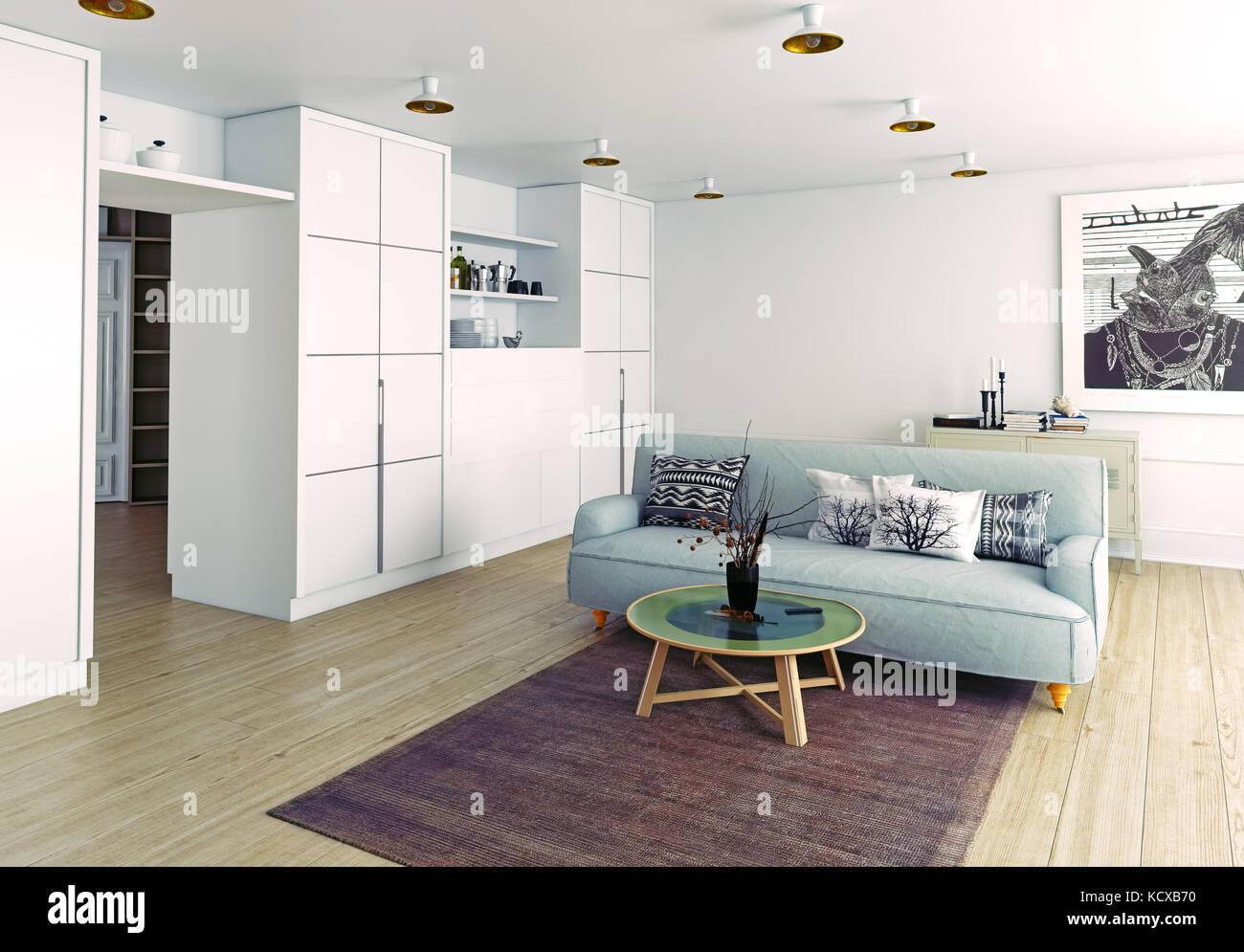 Salón moderno interior. 3D rendering Imagen De Stock