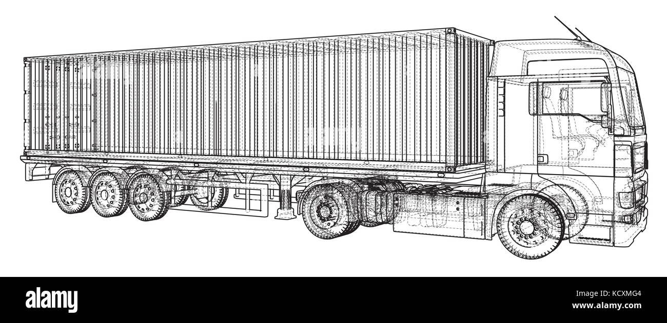 Side View Trailer Cargo Container Imágenes De Stock & Side View ...