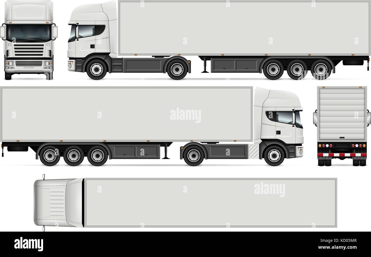 Semirremolque camión vector mock-up para coches de marca y ...