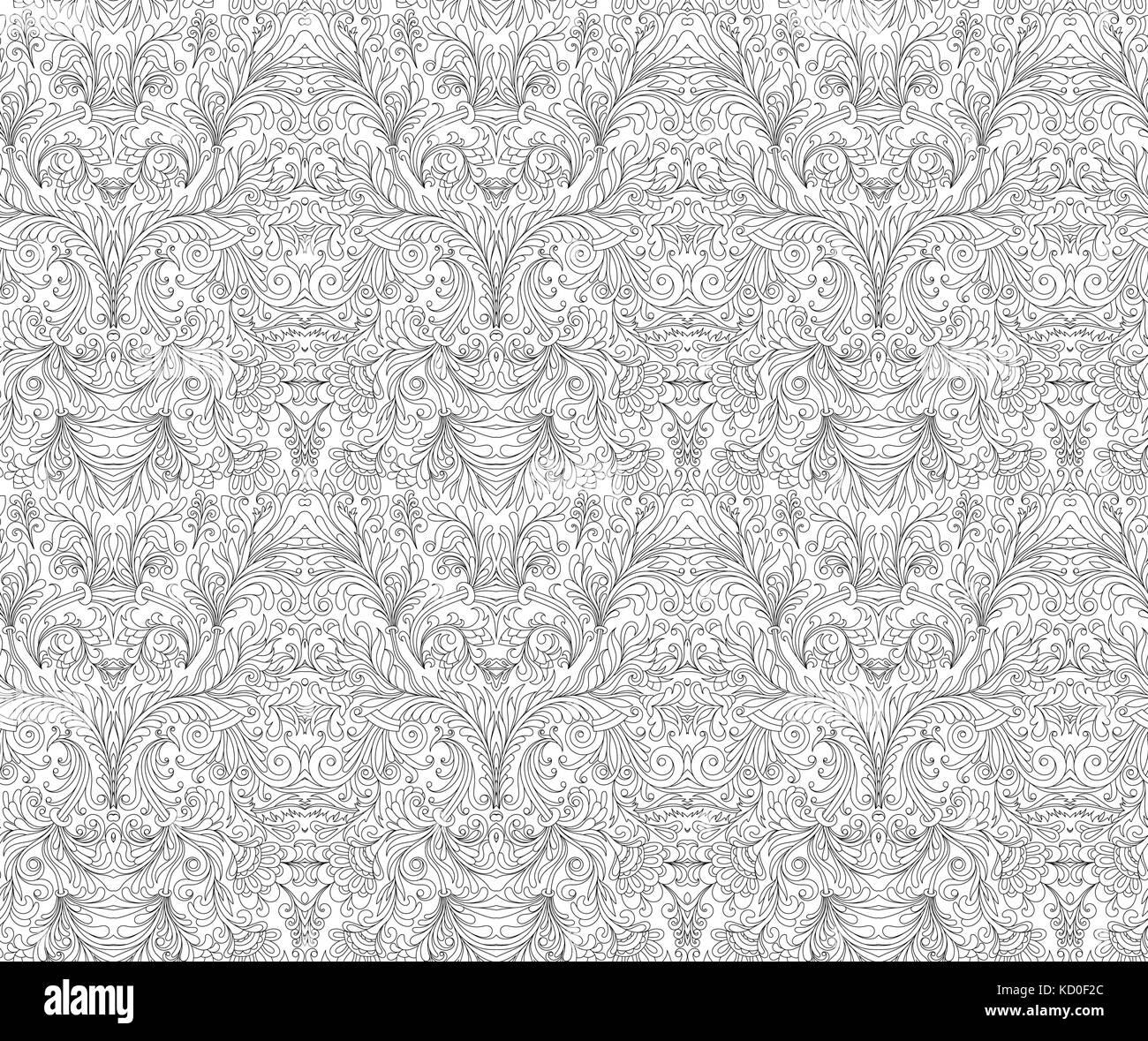 Patrón sin fisuras con las volutas formando ornamentales florales ...