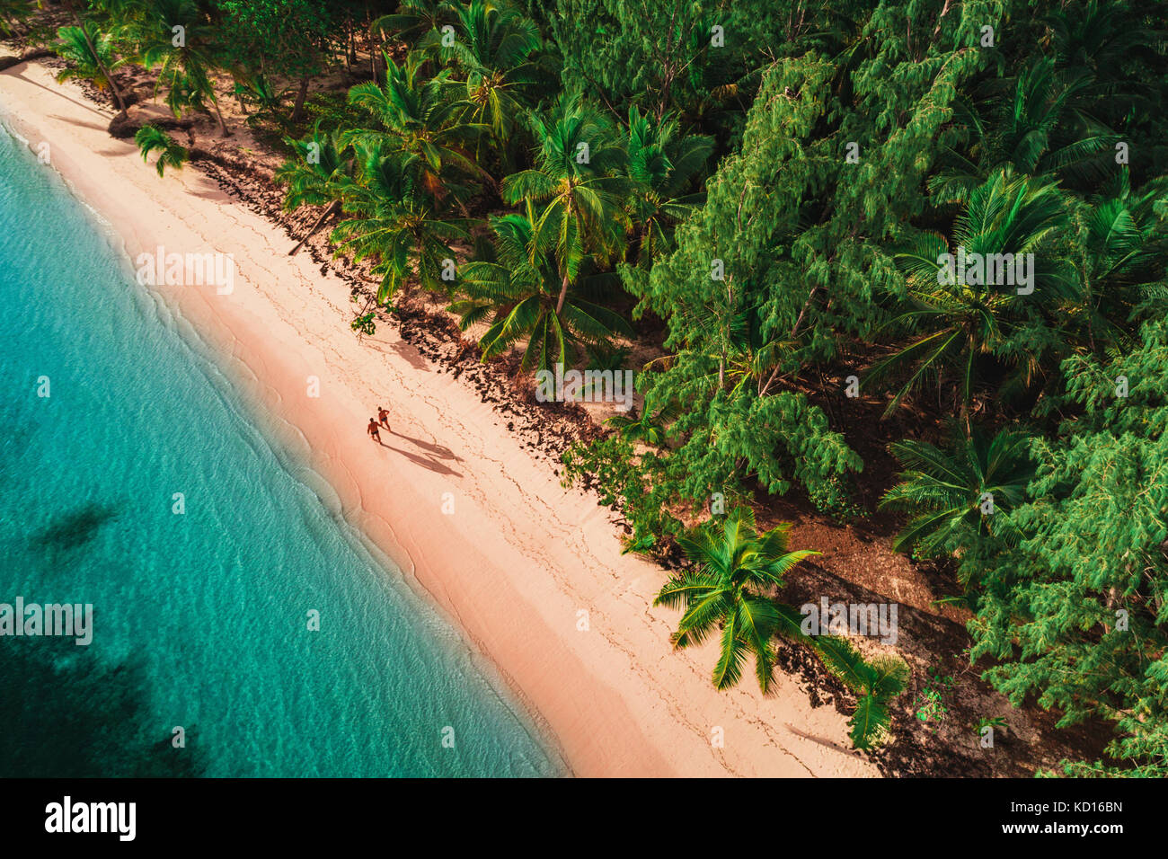 Vista aérea de la isla tropical playa, República Dominicana Imagen De Stock