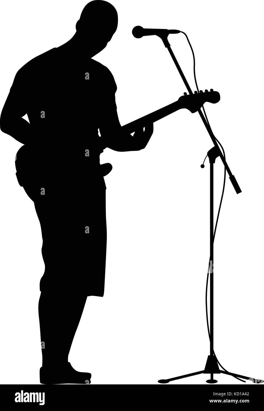Guitarrista y cantor silueta vector Ilustración del Vector