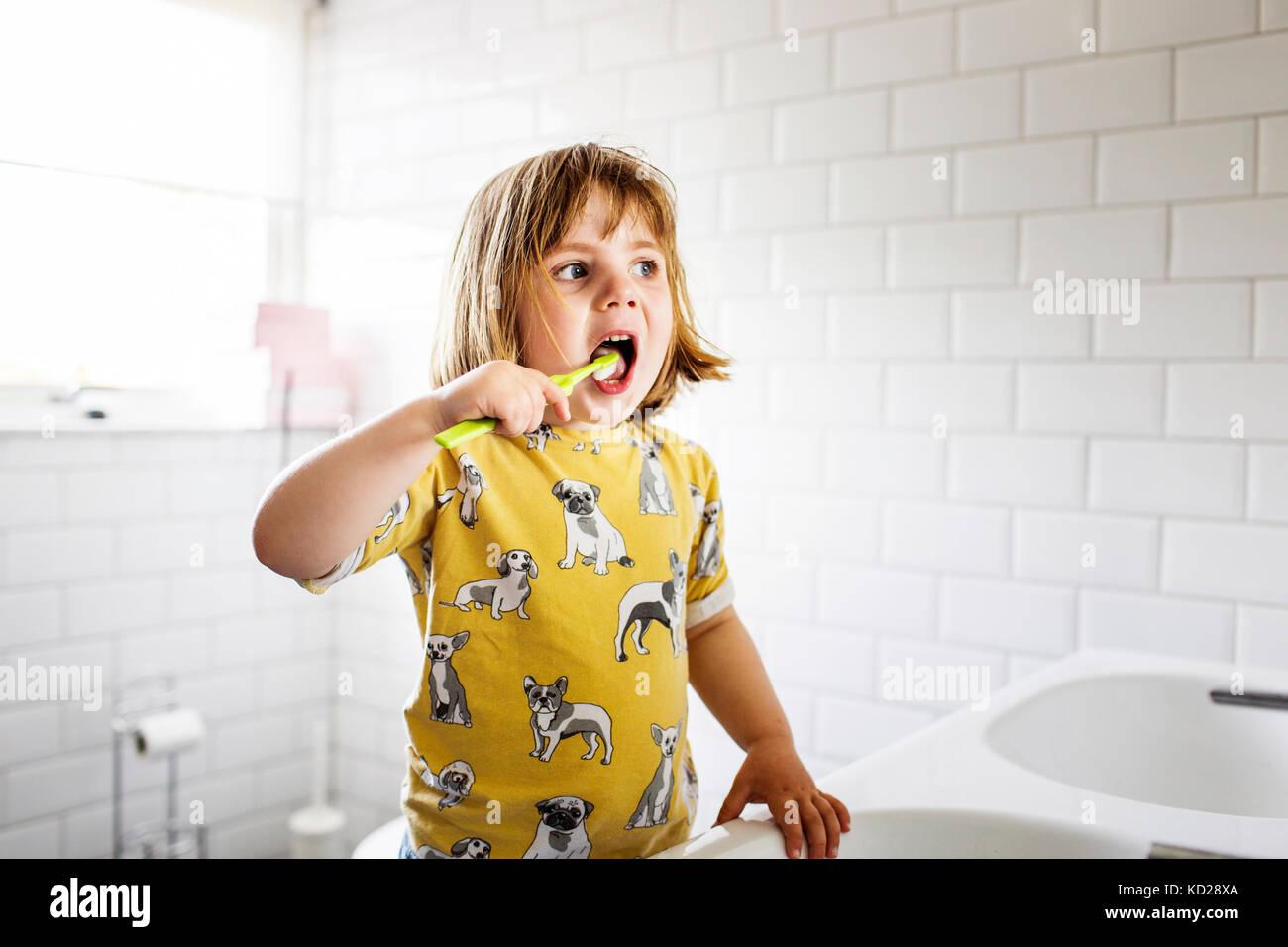 Niña pequeña (2-3) cepillarse los dientes Imagen De Stock