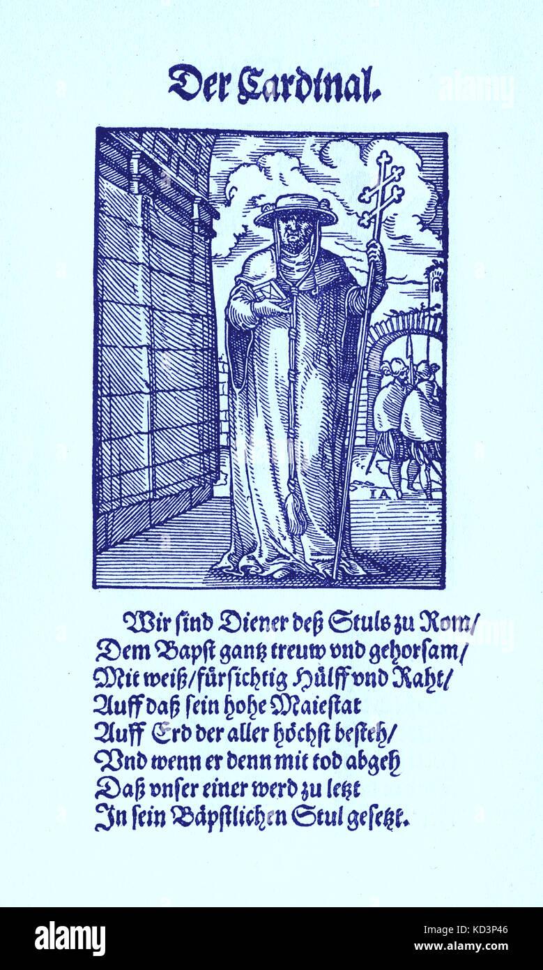 El Cardenal (der Cardinal), del Libro de las Trades / Das Standepauch (Panoplia omnium illiberalium mechanicarum...), Colección de cortes de madera de Jost Amman (13 de junio de 1539 - 17 de marzo de 1591), 1568 con la rima acompañante de Hans sachs (5 de noviembre de 1494 - 19 de enero de 1576) Foto de stock