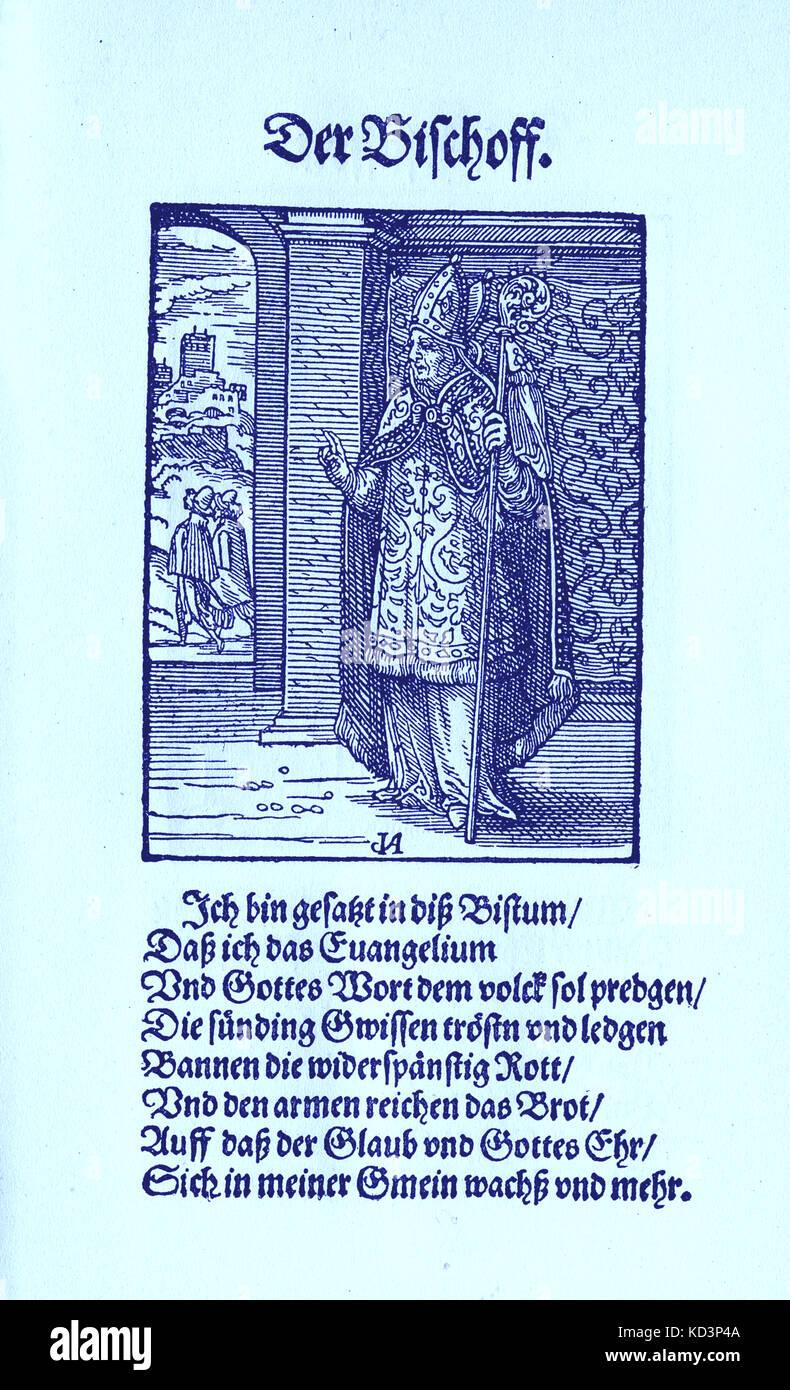El Obispo (der Bischoff), del Libro de Trades / Das Standepauch (Panoplia omnium illiberalium mechanicarum...), Colección de cortes de madera de Jost Amman (13 de junio de 1539 - 17 de marzo de 1591), 1568 con la rima acompañante de Hans achs (5 de noviembre de 1494 - 19 de enero de 1576) Foto de stock