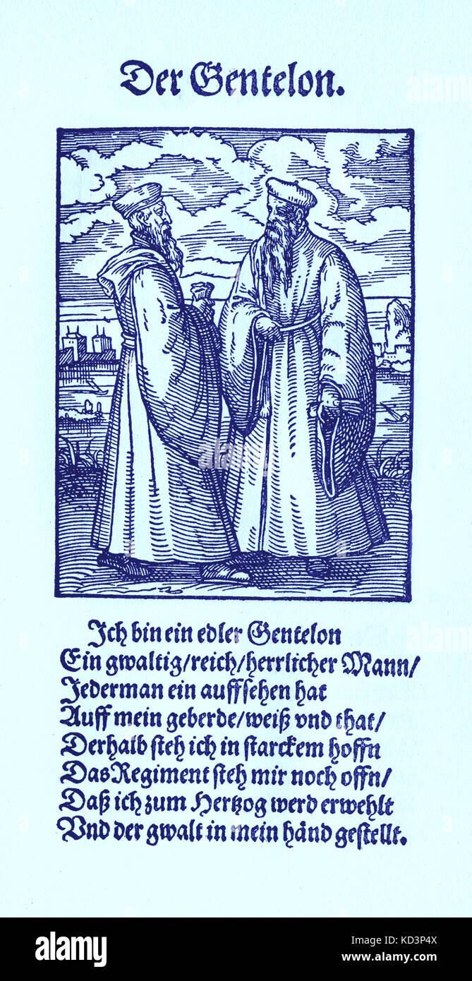 Nobleman (der Gentelon / Edelmann) del Libro de las Trades / Das Standepauch (Panoplia omnium illiberalium mechanicarum...), Colección de cortes de madera de Jost Amman (13 de junio de 1539 -17 de marzo de 1591), 1568 con la rima acompañante de Hans sachs (5 de noviembre de 1494 - 19 de enero de 1576) Foto de stock