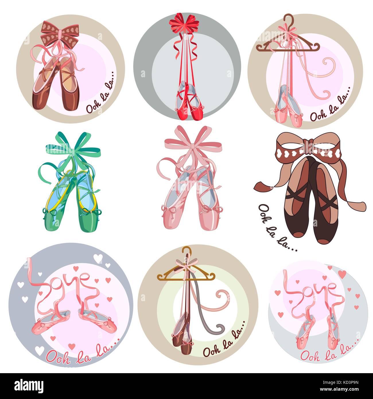Los Zapatos De Ballet Colección De Pegatinas Sobre El Tema