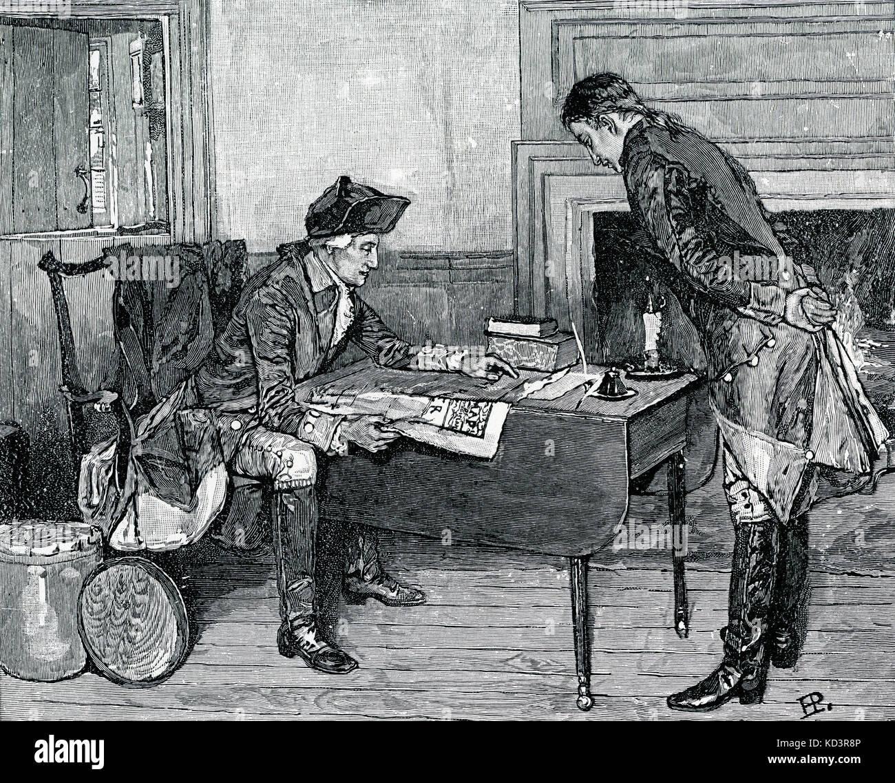 Nathan Hale recibe órdenes de George Washington antes de salir a espiar en el campamento británico. Revolución americana. Ilustración de Howard Pyle, 1901 Foto de stock