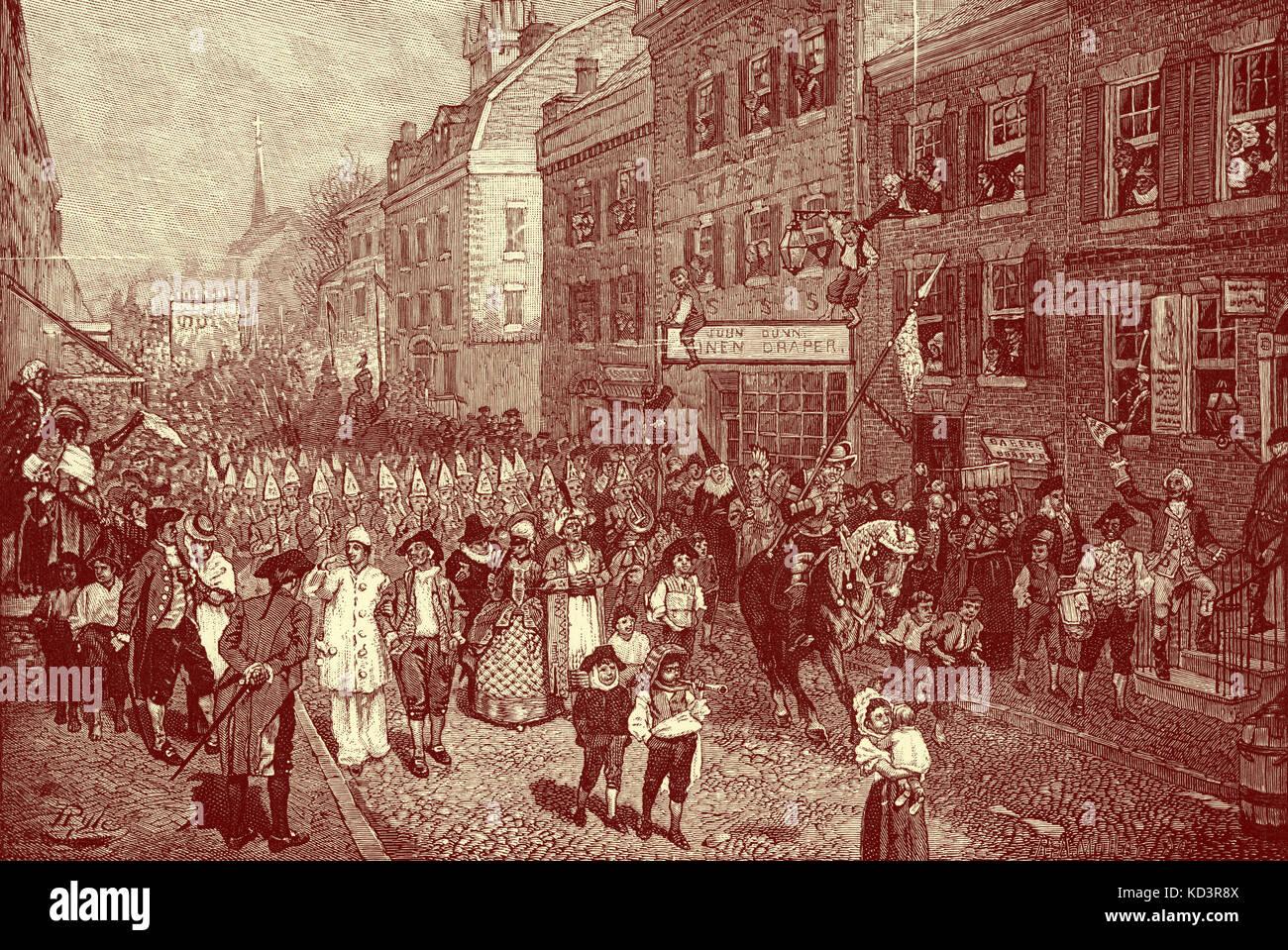 Lenten carnaval, Filadelfia, América colonial, 1700. Ilustración de Howard Pyle, 1901 Foto de stock