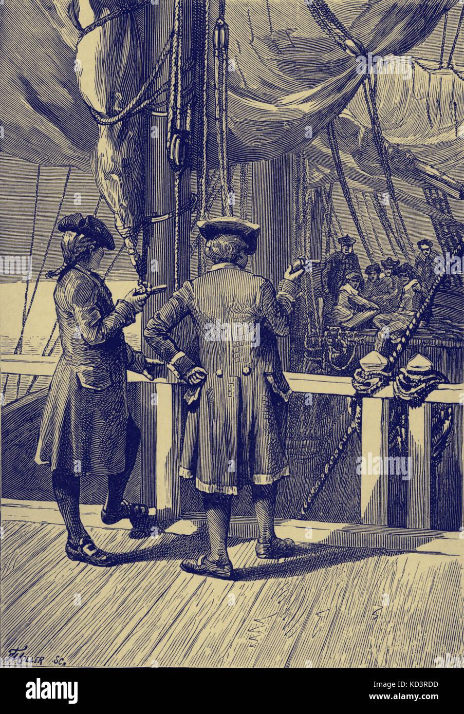 Treasure Island por Robert Louis Stevenson. La leyenda dice: 'Si alguno de ustedes seis hace un signo de cualquier descripción, ese hombre está muerto.' (Squire y el capitán en la terraza.) CH XVI Cómo se abandonó el buque. Publicado por primera vez como serie 1881-82. RLS: Novelista escocés, poeta y escritor de viajes, 13 de noviembre de 1850 – 3 de diciembre de 1894. Foto de stock