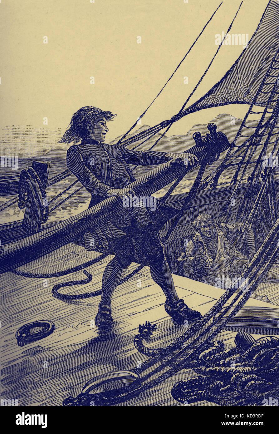 """La Isla del Tesoro de Robert Louis Stevenson. El título dice: """"puse el timón duro y la Hispaniola girarla rápidamente."""" (Jim Hawkins"""" volver a la Hispaniola.) Capítulo XXVI de manos de Israel. Publicado por primera vez en 1881-82. RLS: escocés, poeta, novelista y escritor de viajes, el 13 de noviembre de 1850 - 3 de diciembre de 1894. Foto de stock"""