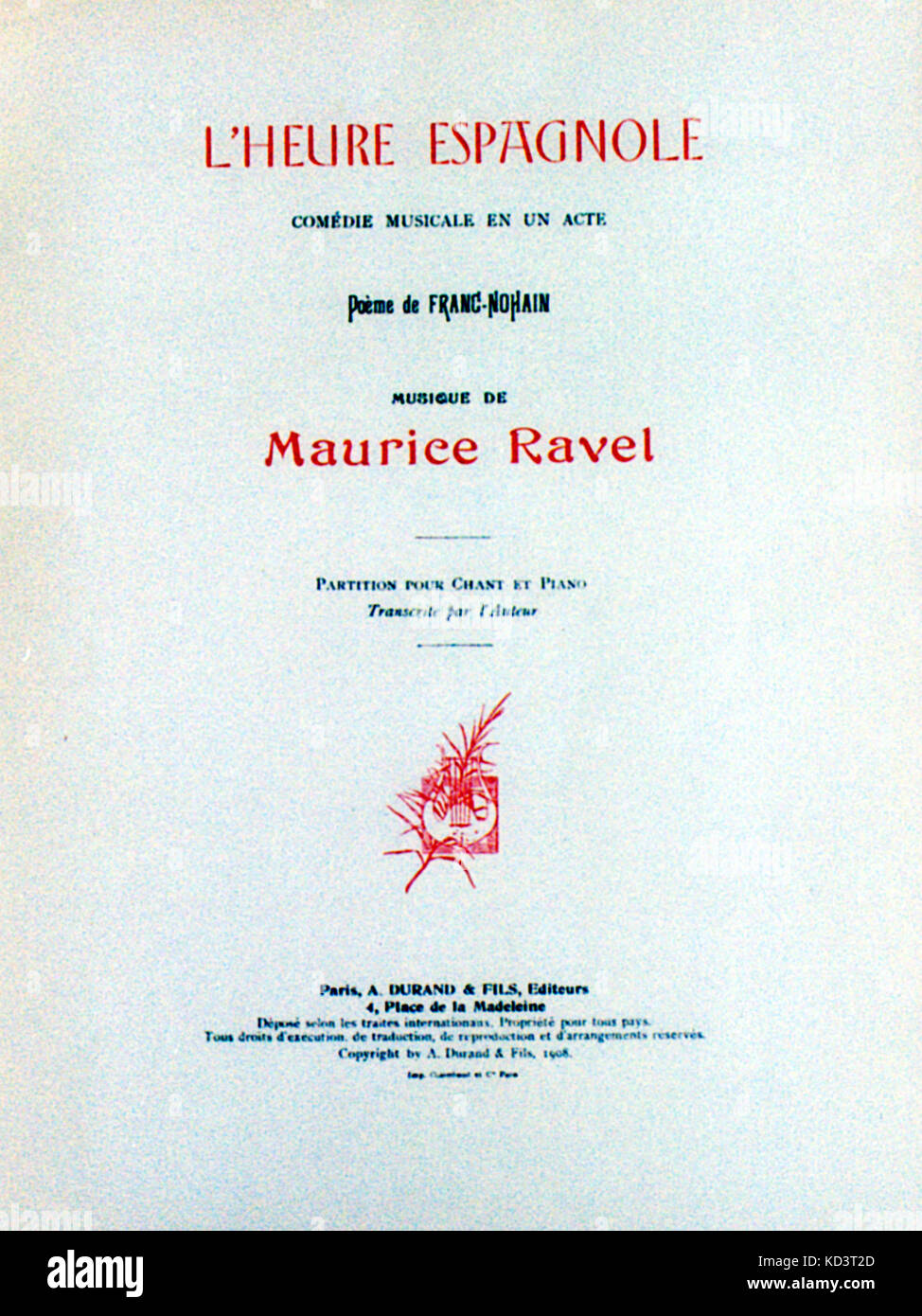 Ravel Maurice Página De Título De Lheure Espagnole 1ª