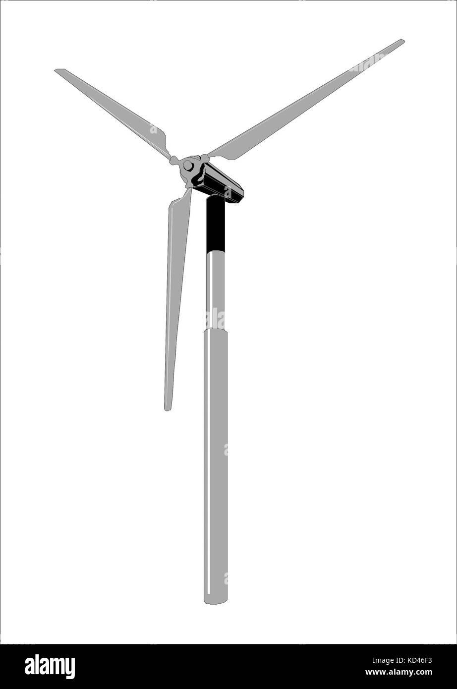 Los generadores de energía eólica, imágenes prediseñadas en las blancas backgrounde Imagen De Stock