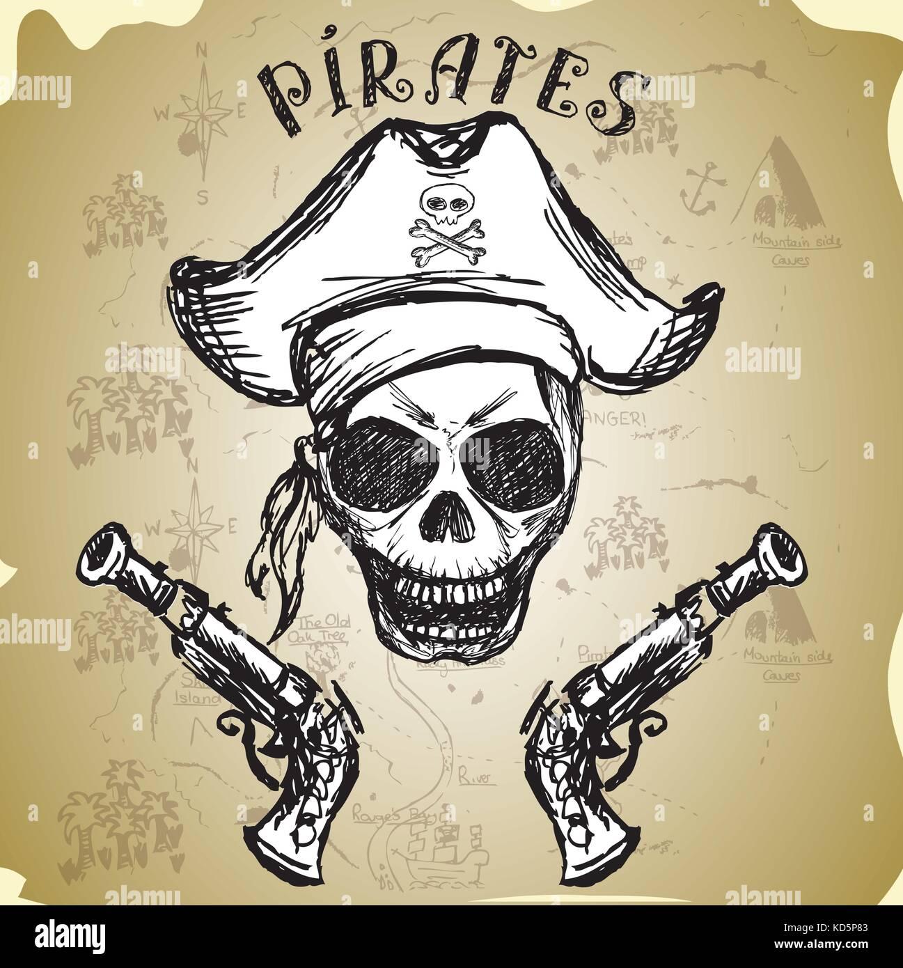 Pirate calavera con sombrero y pistolas ebafe81bc6e