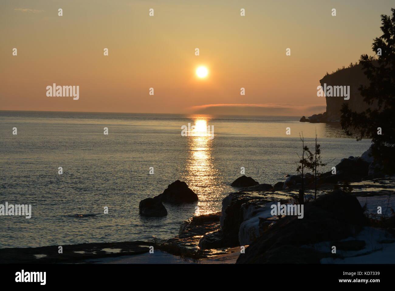 Atardecer en la península de Bruce, tobermory Foto de stock