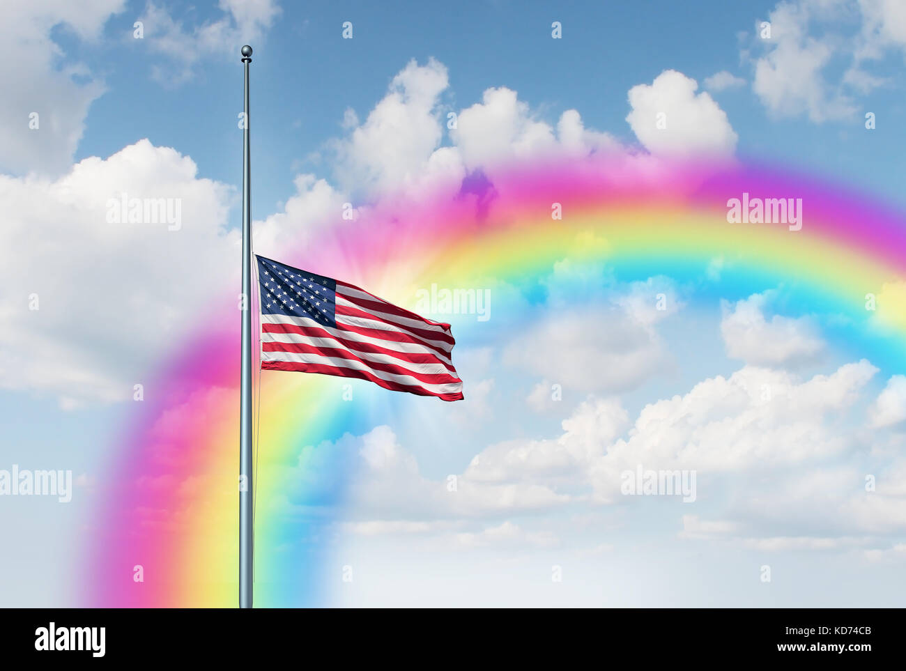Media asta la bandera americana esperanza rainbow concepto como un símbolo de los Estados Unidos volando a Imagen De Stock