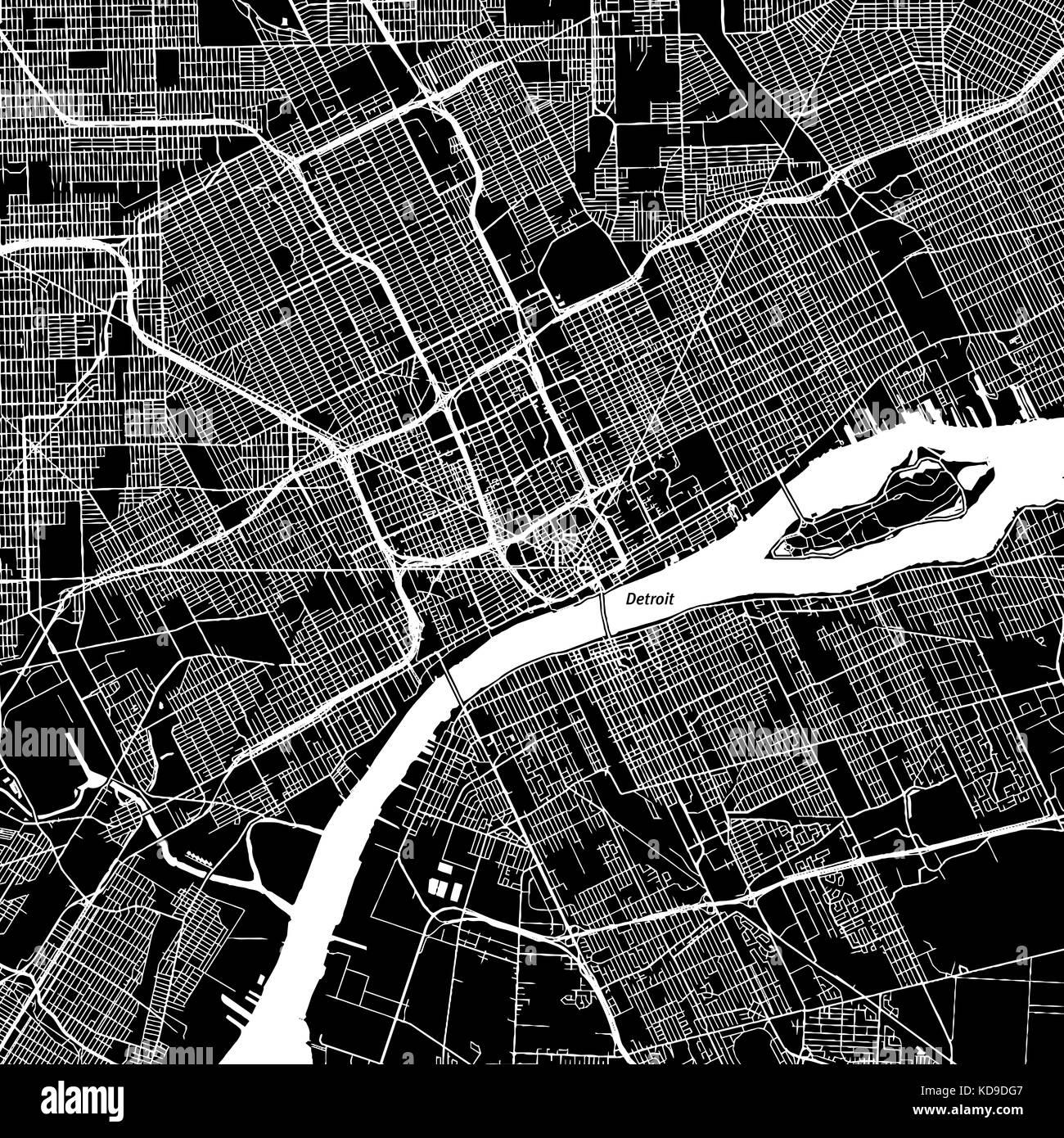 El centro de Detroit, Michigan. mapa de vectores. El nombre de la ...