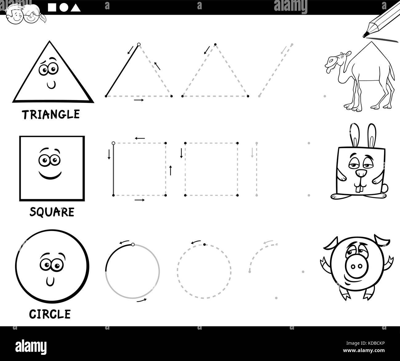 Blanco y negro ilustración dibujos animados educativos de forma ...