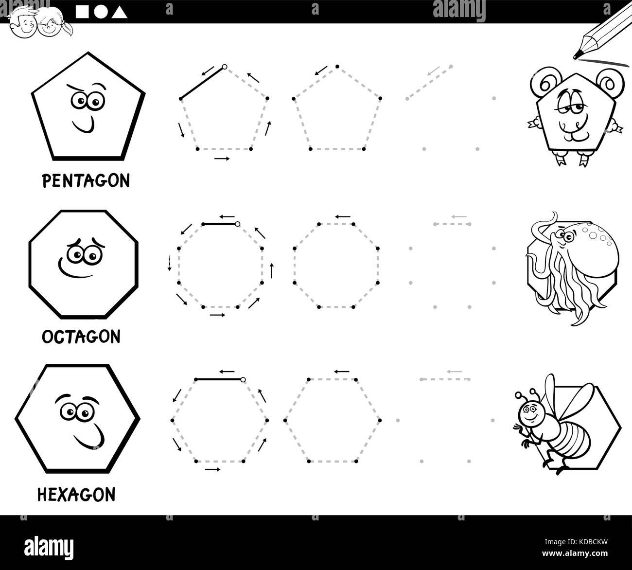 Blanco Y Negro Ilustracion Dibujos Animados Educativos De Forma