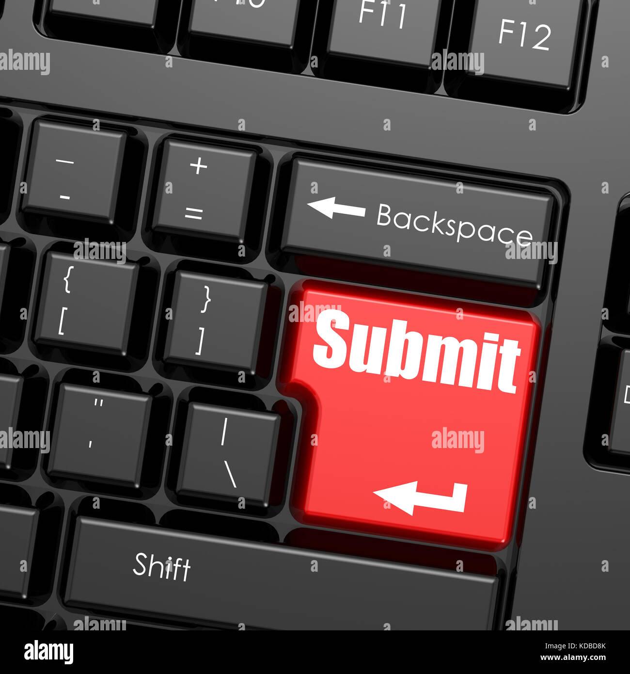 Rojo el botón enter en el teclado del ordenador, enviar word concepto de negocio. Imagen De Stock