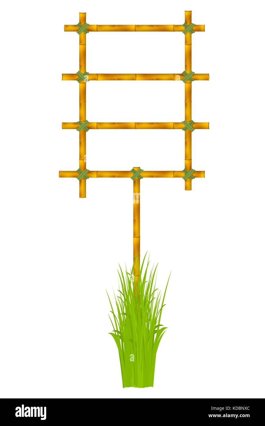 Marco de madera de la vieja ilustración vectorial varas de bambú ...
