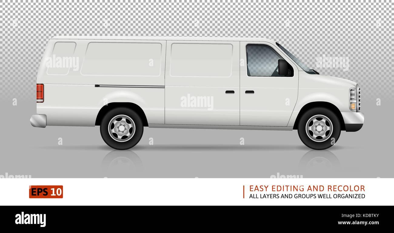Furgoneta blanca plantilla vectorial para coches de marca y ...
