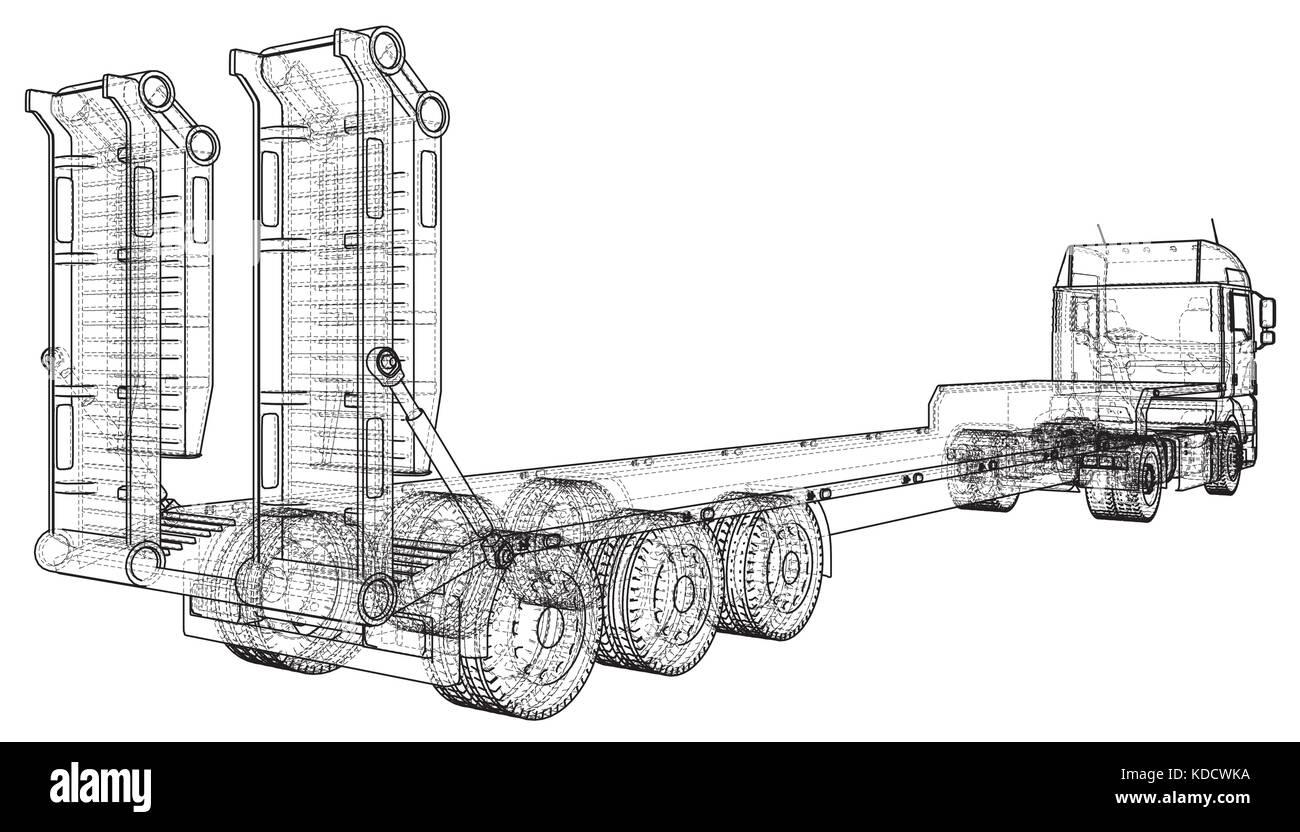 Vector Cartoon Cargo Semi Truck Imágenes De Stock & Vector Cartoon ...