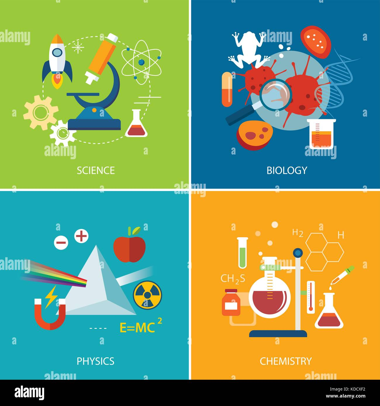 Concepto de ciencia ,física ,química, biología diseño plano Ilustración del Vector