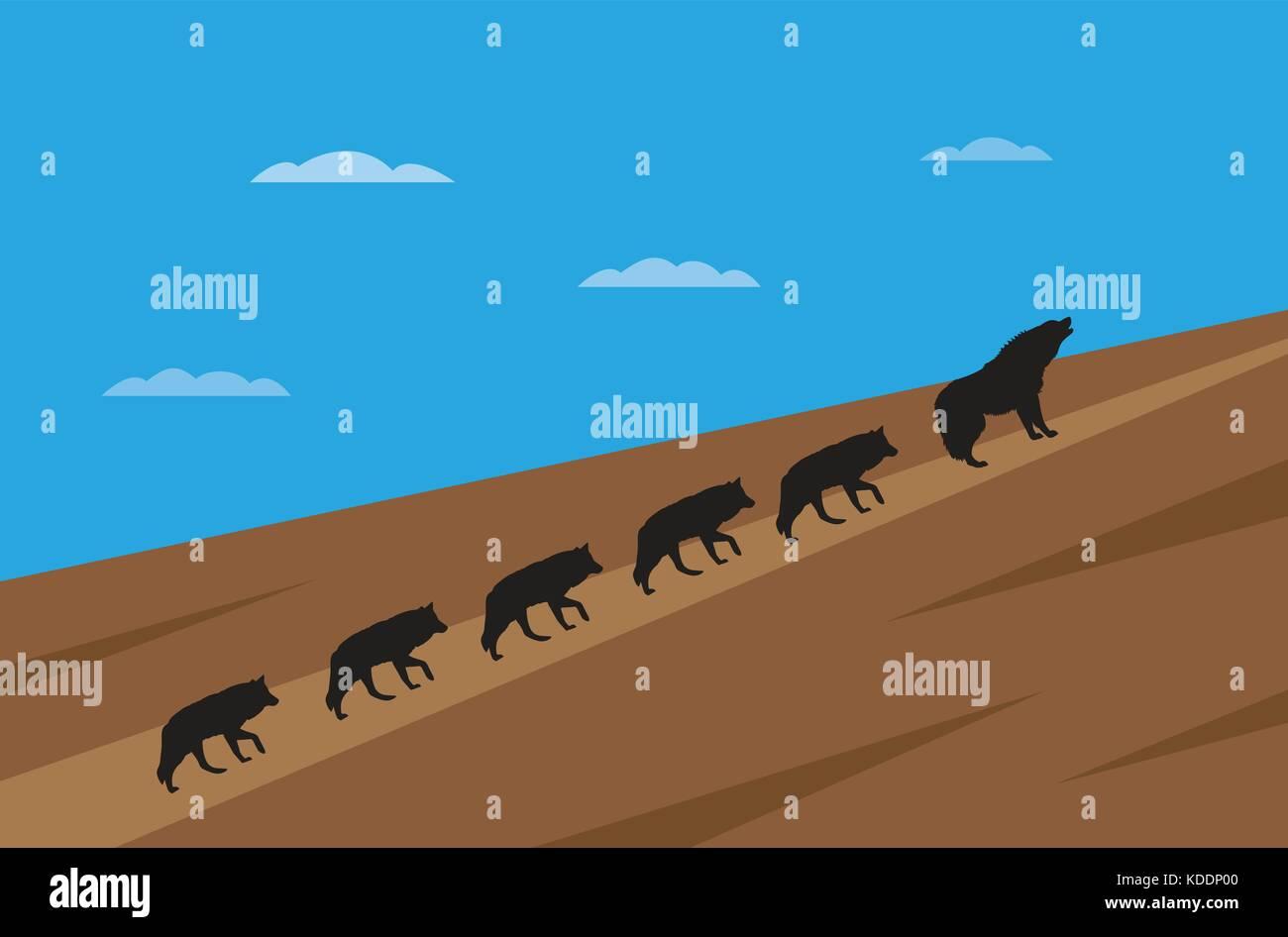 Pack de wolfes concepto de liderazgo Imagen De Stock