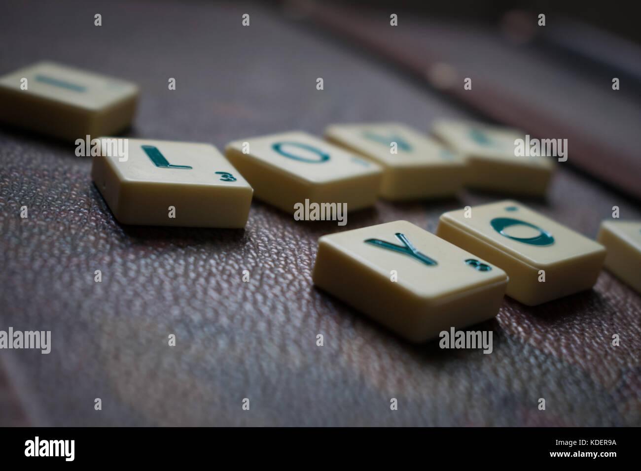 I Love You Romántico Palabras Scrabble Letras Mosaico Foto Imagen