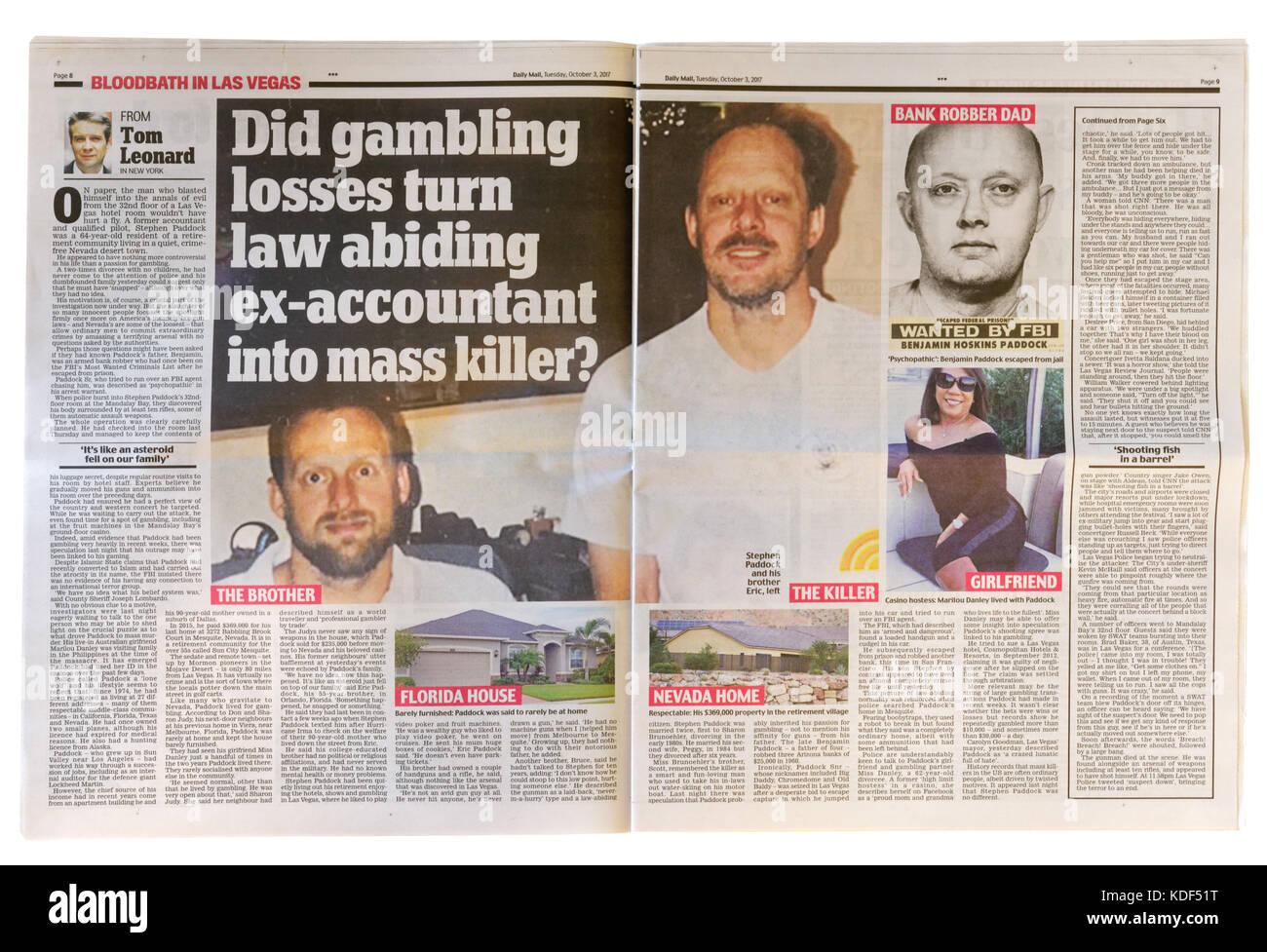 Daily Mail páginas interiores headline después del tiroteo masivo de Las Vegas el 1 de octubre de 2017 Imagen De Stock