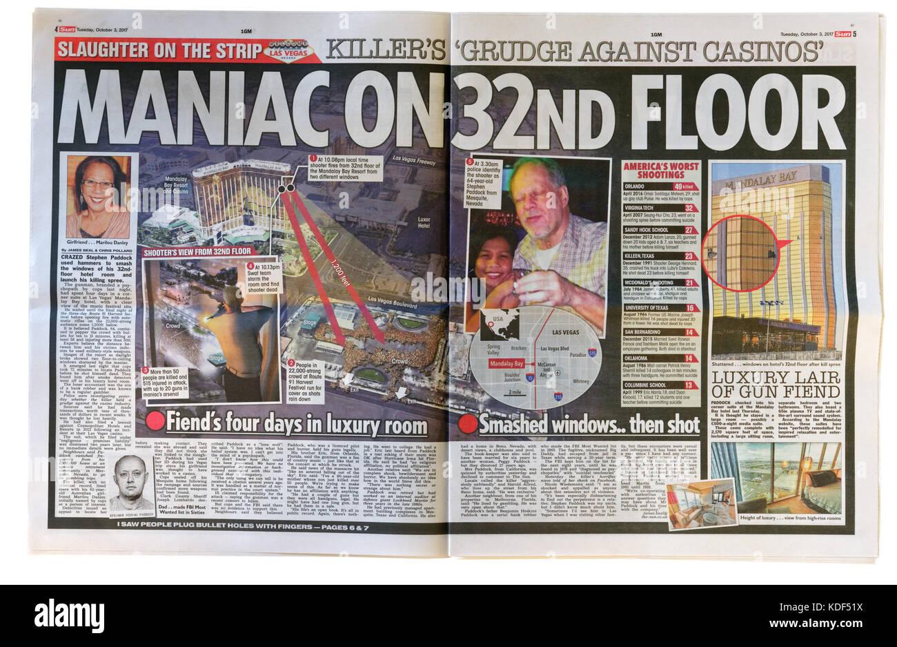 El Sol páginas interiores headline después del tiroteo masivo de Las Vegas el 1 de octubre de 2017 Imagen De Stock