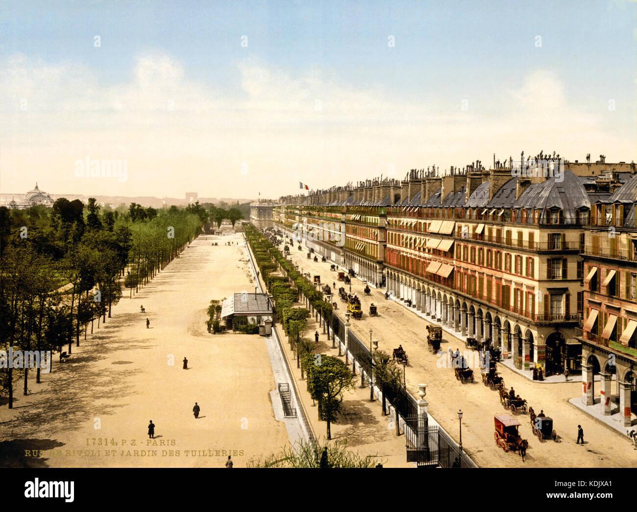 La rue de Rivoli et Jardin des Tuilleries, Exposición Universal de 1900, París, Francia Foto de stock