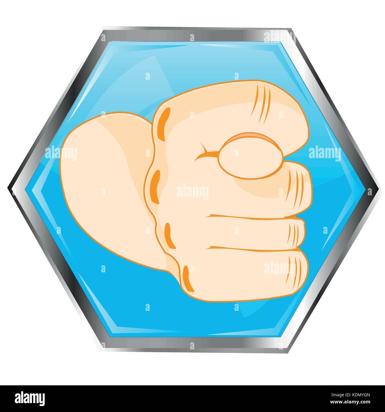 Gesto fig en el botón Ilustración del Vector